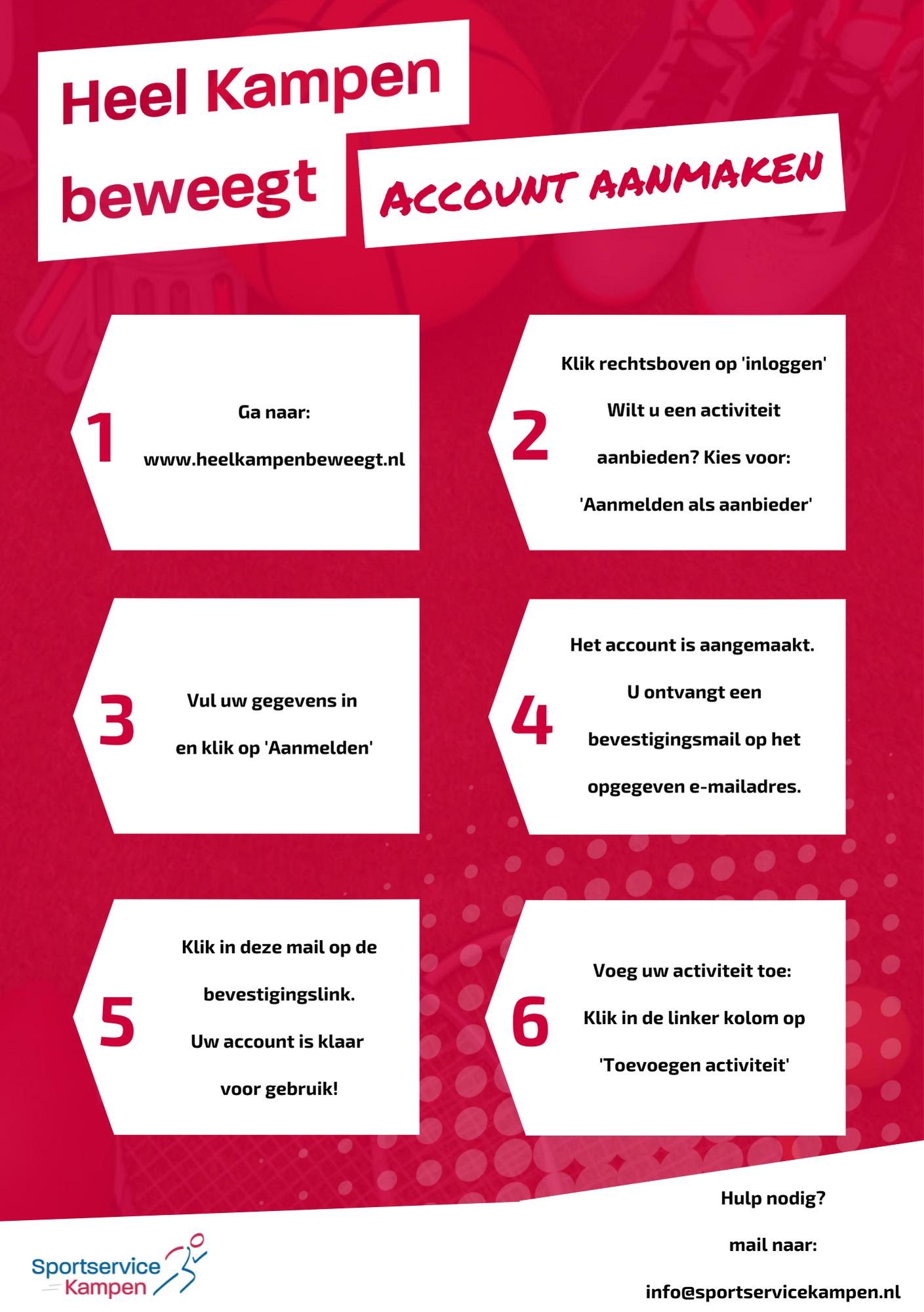 Stappenplan account aanmaken op heelkampenbeweegt.nl